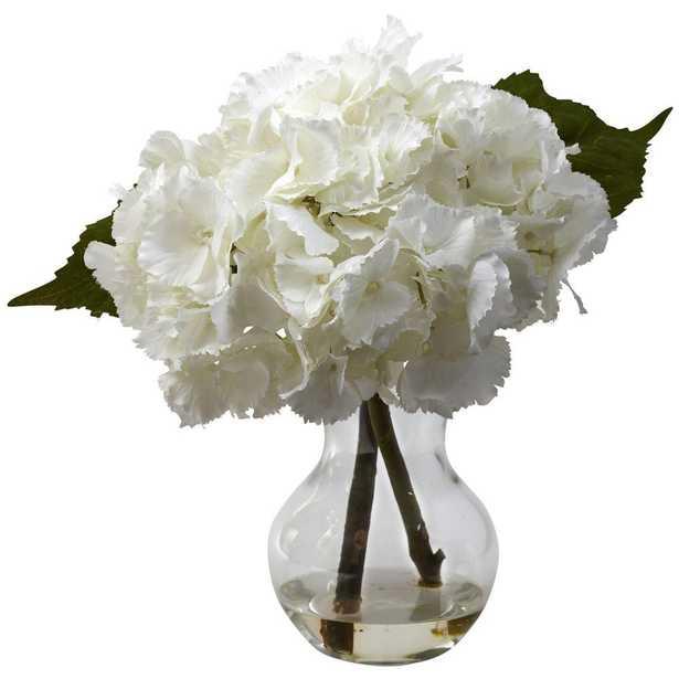 Blooming Hydrangea with Vase Arrangement - Home Depot