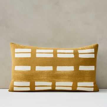 "Tie Dye Lines Pillow Cover, 12""x21"", Horseradish - West Elm"