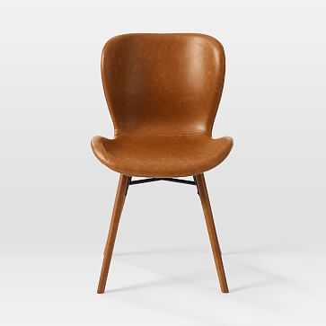 Uma Faux Leather Dining Chair, Saddle Leather, Nut, Pecan (Set of 2) - West Elm