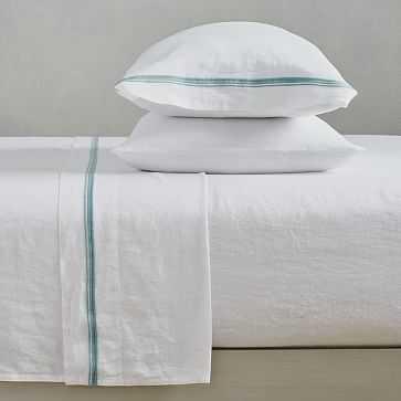 Belgian Linen Embroidered Stripe Sheet Set, Queen, White + Silver Blue - West Elm