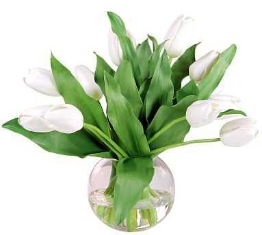Faux White Tulip Composed Arrangement, Glass Bowl Vase - 14'' - Pottery Barn