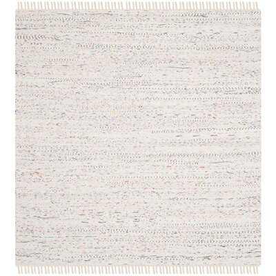 Penrock Hand-Woven Flatweave Cotton White Rug - Wayfair