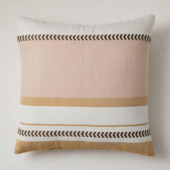 "Outdoor Variegated Block Stripe Pillow, 20""x20"", Bright Peach - West Elm"