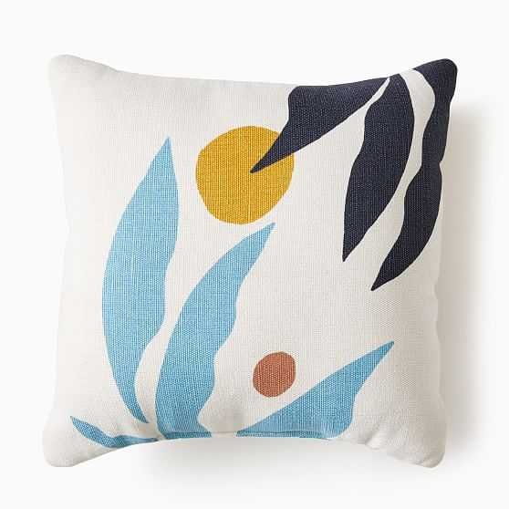 """Outdoor Graphic Fronds Pillow, 20""""x20"""", Washed Lagoon - West Elm"""
