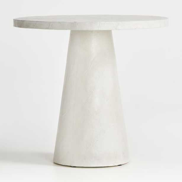 Willy White Plaster Pedestal Bistro Table - Crate and Barrel