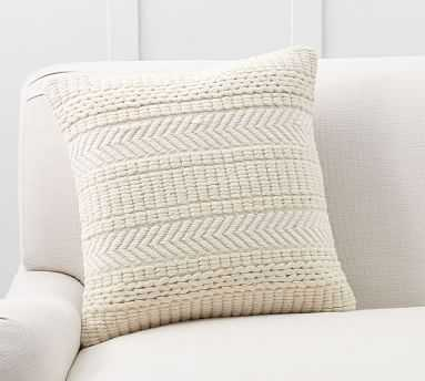 """Wool Embroidered Pillow Cover, 20"""", Ivory - Pottery Barn"""