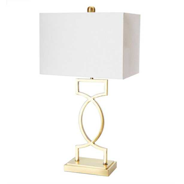 Silverwood Estelle 24.5 in. Gold Table Lamp with Linen Shade - Home Depot