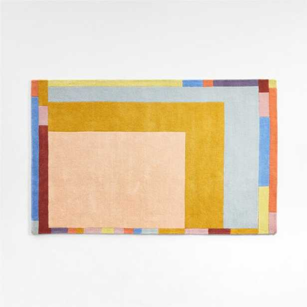 Bright Bordered Colorblock Rug 8x10 - Crate and Barrel