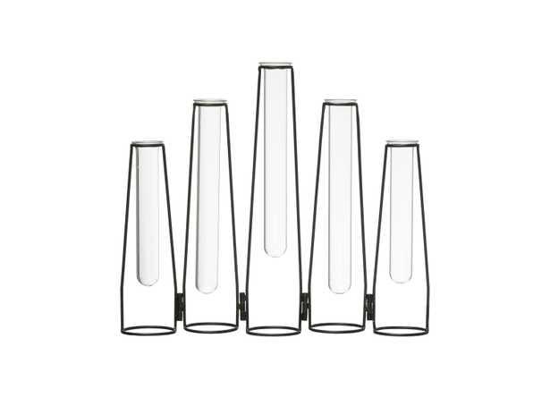 """5 Glass Test Tube Vases in 13"""" Long Foldable Black Metal Frame - Moss & Wilder"""