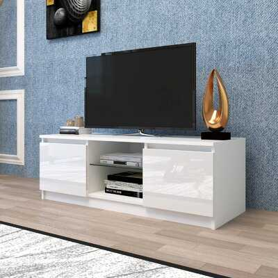 White Living Room  TV Stand With Light Entertainment Center Media Console Table - Wayfair