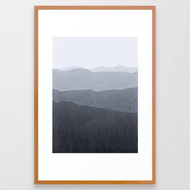 Gradient Landscape Grey Framed Art Print by Iris Lehnhardt - Conservation Pecan - LARGE (Gallery)-26x38 - Society6