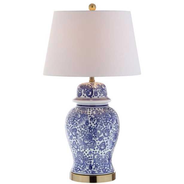 JONATHAN  Y Ellis 29.5 in. H Ceramic Table Lamp, Blue/White - Home Depot