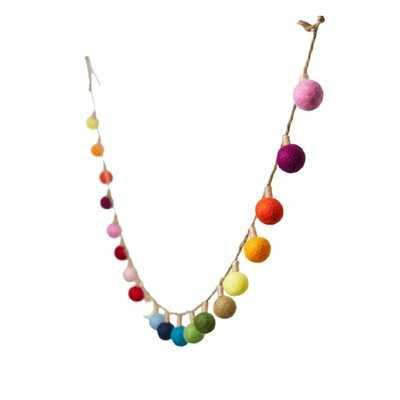 "Serene Spaces Living 72"" Multicolor Hanging Lightbulb Wool Felt Pom Pom Garland, Classroom Garland, Colorful Christmas Garland, Rainbow Felt Garland For Tree Decoration, Kids Playroom, Birthday Party - Wayfair"