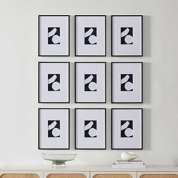 Metal Gallery Frame Rectangle, Black Powder Coated, 12X16 Set of 9 - West Elm