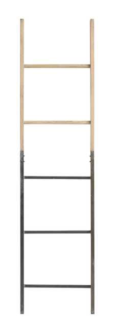 "64""H Decorative Half Metal/Half Fir Wood Ladder - Nomad Home"