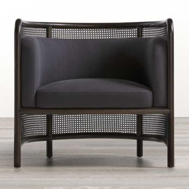 Fields Cane Back Charcoal Accent Chair (restock early july) - Crate and Barrel