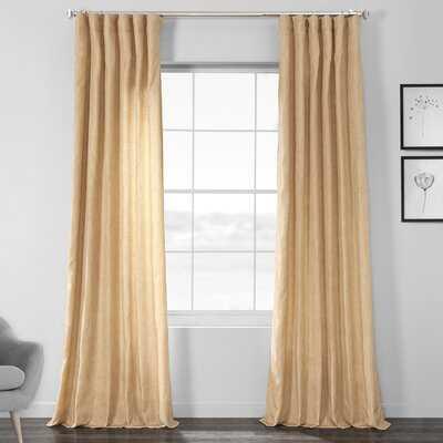 Designer Chambray Textured Solid Room Darkening Rod Pocket Single Curtain Panel - AllModern