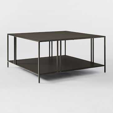 Profile Square Coffee Table, Metal, Antique Bronze - West Elm