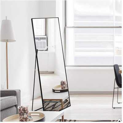 Full Length Mirror Floor Mirror Hanging Standing Or Leaning, Bedroom Mirror Wall-Mounted Mirror With Black Aluminum Alloy Frame - Wayfair
