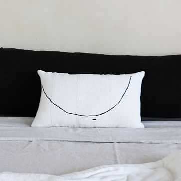 Teta Minimalist Painted Lumbar Pillow, Ivory + Nude - West Elm