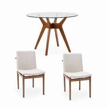Jensen Round Dining Table & 2 Framework Upholstered Dining Chairs Set - West Elm