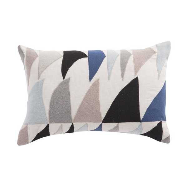 Cosmic By Nikki Chu Living Priscilla Geometric Linen Lumbar Pillow Color: Blue/Ivory, Fill: Polyester / Polyfill - Perigold