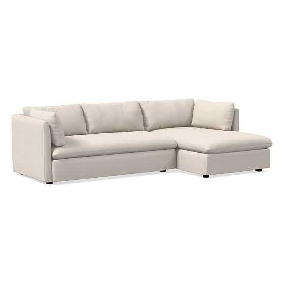 Shelter 2-Seat Right Arm 2-Piece Chaise Sectional, Classic Cotton, Opal, Concealed Support - West Elm