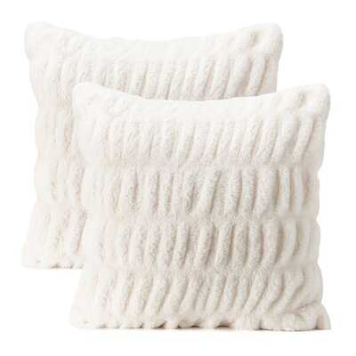 Mercer41 2-Piece Ruched Royal Faux Fur Pillow Cover Set - Wayfair