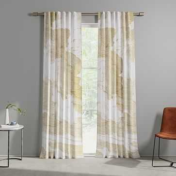 "Cotton Canvas Etched Cloud Curtains, 48""x96"", Dark Horseradish (Set of 2) - West Elm"