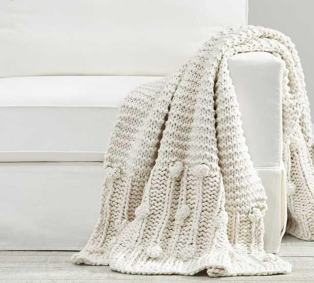 """Edilon Bobble Knit Throw, 50 x 60"""", Oatmeal - Pottery Barn"""