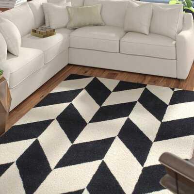 Tilley Geometric Handmade Tufted Wool Black/White Area Rug - Wayfair