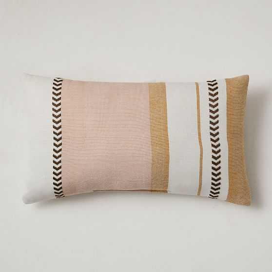 "Outdoor Variegated Block Stripe Pillow, 12""x21"", Bright Peach - West Elm"