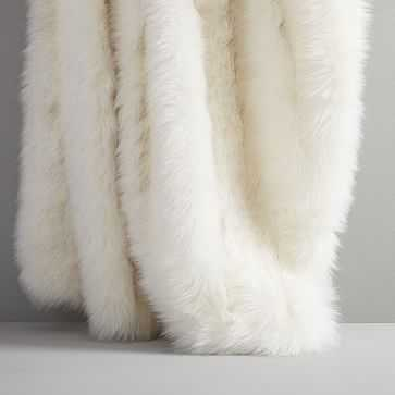 """Faux Fur Brushed Tips Throw, 47""""x60"""", White - West Elm"""