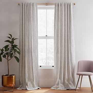 "Cotton Canvas Bomu Curtain, Set of 2, Midnight, 48""x108"" - West Elm"