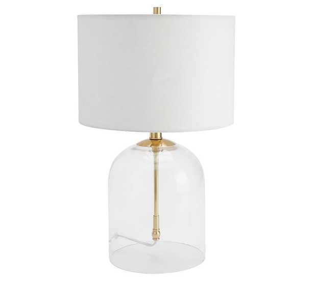 Aria Dome Table Lamp with Small Straight Sided Gallery Shade, Antique Brass/White - Pottery Barn