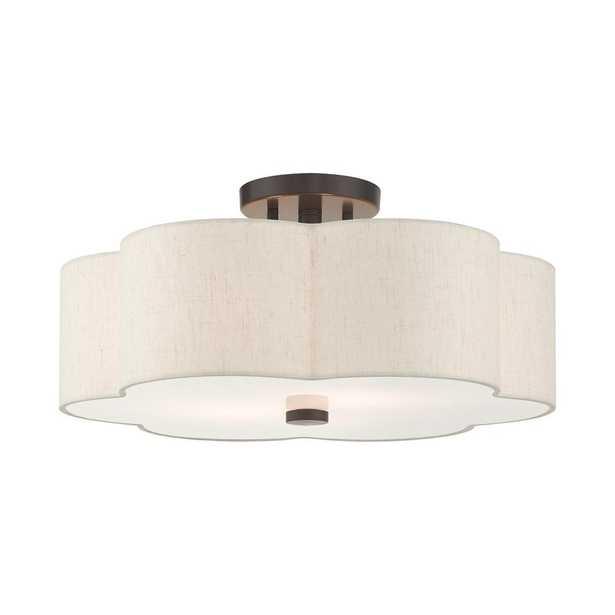 LIVEX LIGHTING Solstice 18 in. 3-Light English Bronze Semi-Flush Mount - Home Depot