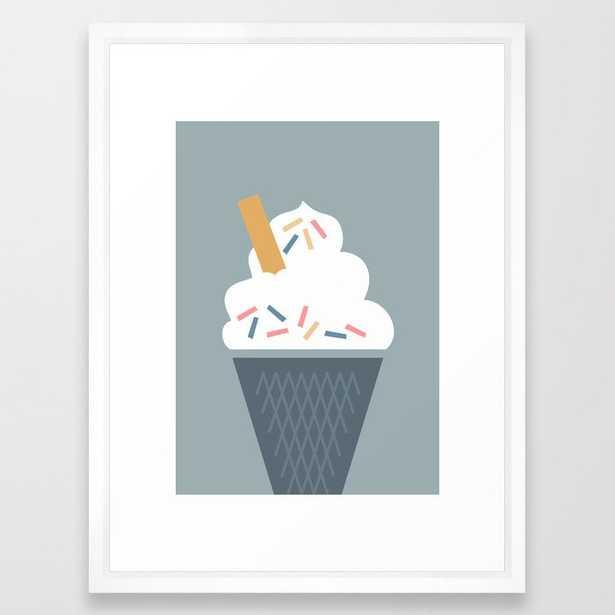Ice Cream (blue) Framed Art Print by The Old Art Studio - Vector White - MEDIUM (Gallery)-20x26 - Society6