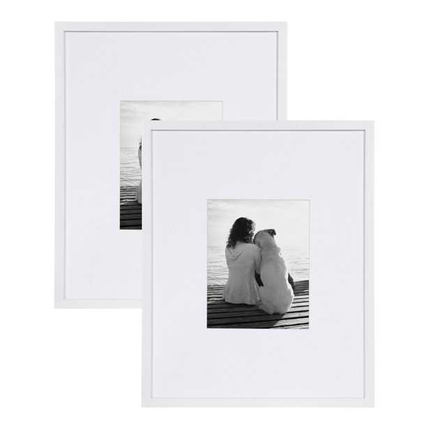 """DesignOvation Gallery 16"""" x 20"""" matted to 8"""" x 10"""" White Picture Frame, Set of 2 - Home Depot"""