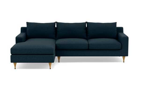Sloan Left Sectional with Blue Union Fabric, standard down blend cushions, extended chaise, and Natural Oak with Antique Cap legs - Interior Define