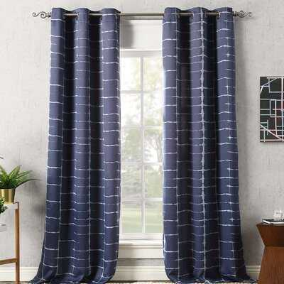 Wacker Shibori Print Striped Blackout Thermal Grommet Single Curtain Panel - AllModern