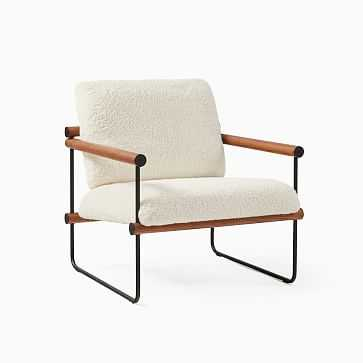 Ross Chair, Poly, Ivory, Sherpa, Black and Walnut - West Elm