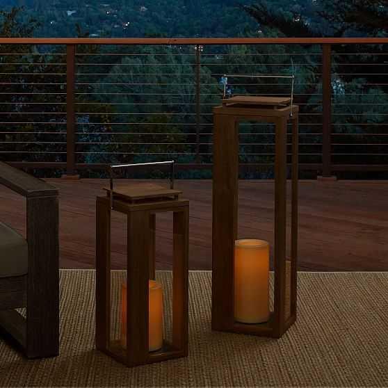 Portside Outdoor Wood Lantern, Driftwood, Large Extra Large, Set of 2 - West Elm