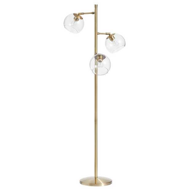 Glass Spotlight Floor Lamp, Clear / Gold - Pottery Barn Teen