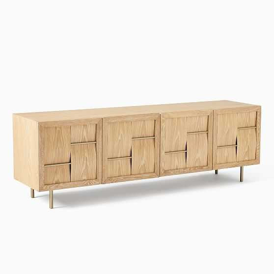 We Atticus Collection Washed Oak Brass 80 Inch Media - West Elm