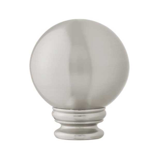 Mix and Match 1 in. Ball Curtain Drapery Rod Finial in Brushed Nickel (2-Pack) - Home Depot