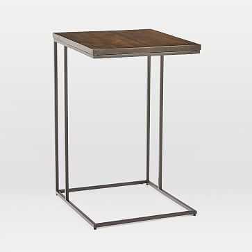 Streamline C-Side Table, Dark Walnut, Antique Bronze - West Elm