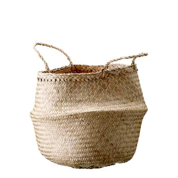 Medium Beige Collapsible Seagrass Basket with Handles - Moss & Wilder