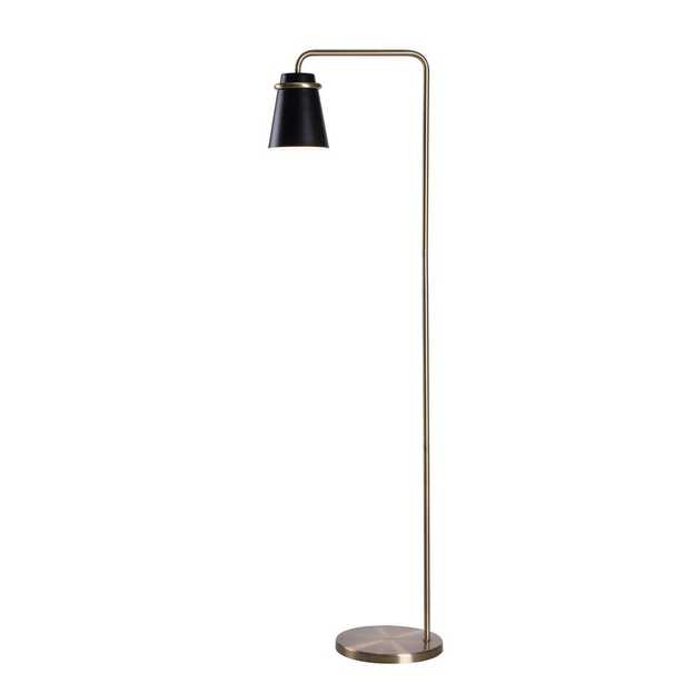 Manor Brook Nico 55 Inch Height Antique Brass and Black Floor Lamp - Home Depot
