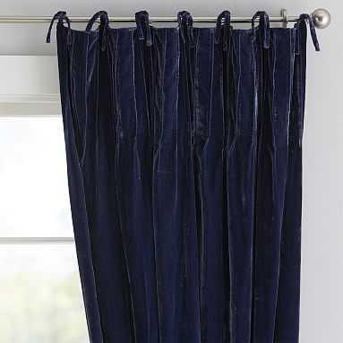 """Shimmer Velvet Blackout Curtain, 108"""", Navy - Pottery Barn Teen"""