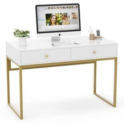 Reversible Desk, White/Gold - Wayfair